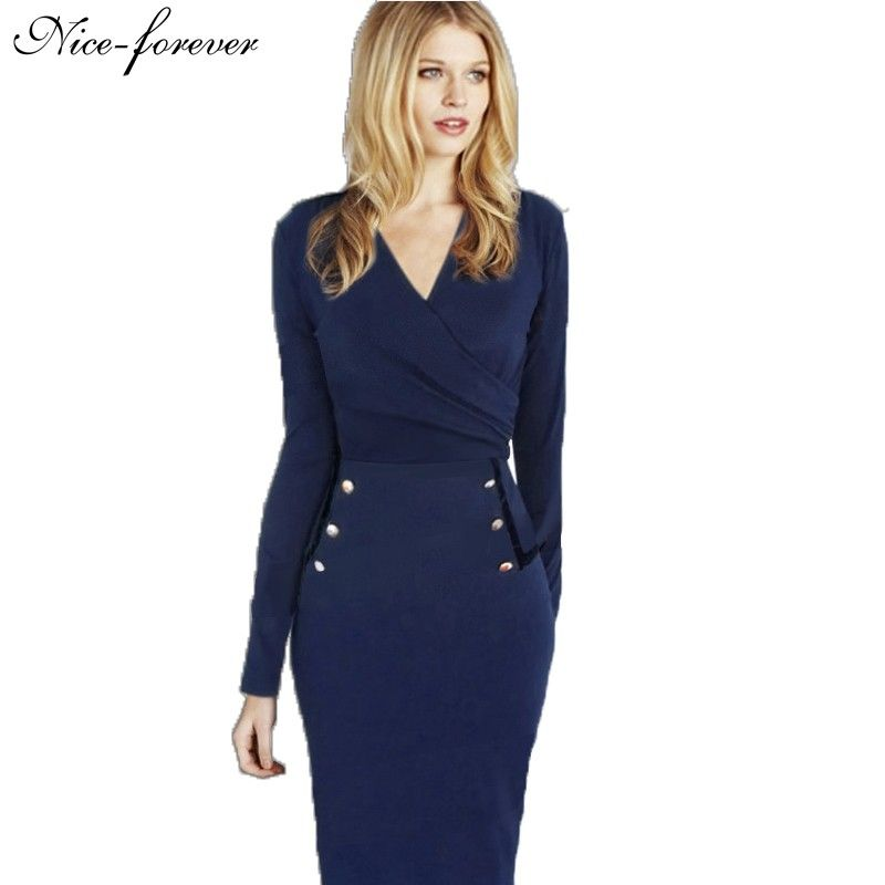 Women office V neck work formal elegant Pencil Bodycon Dress ... 4bb339274942