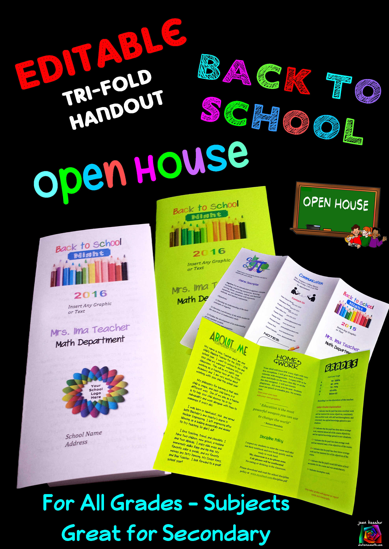 Editable open house parent night back to school tri fold brochure template open house parents for Teacher brochure templates