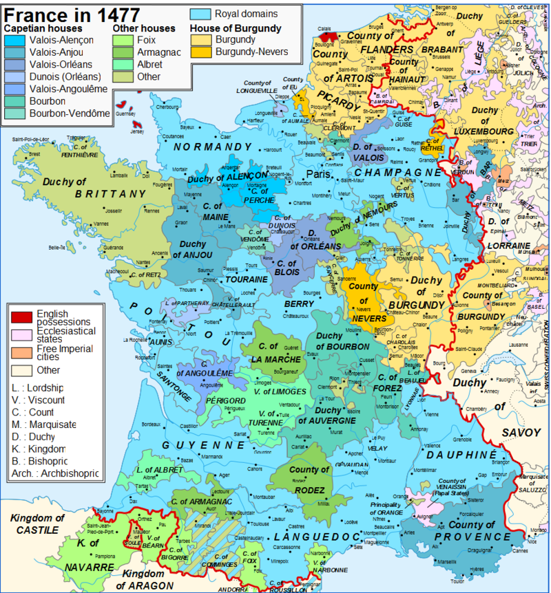 Map of France and the Pyrenees in 1477 showing the Kingdom of
