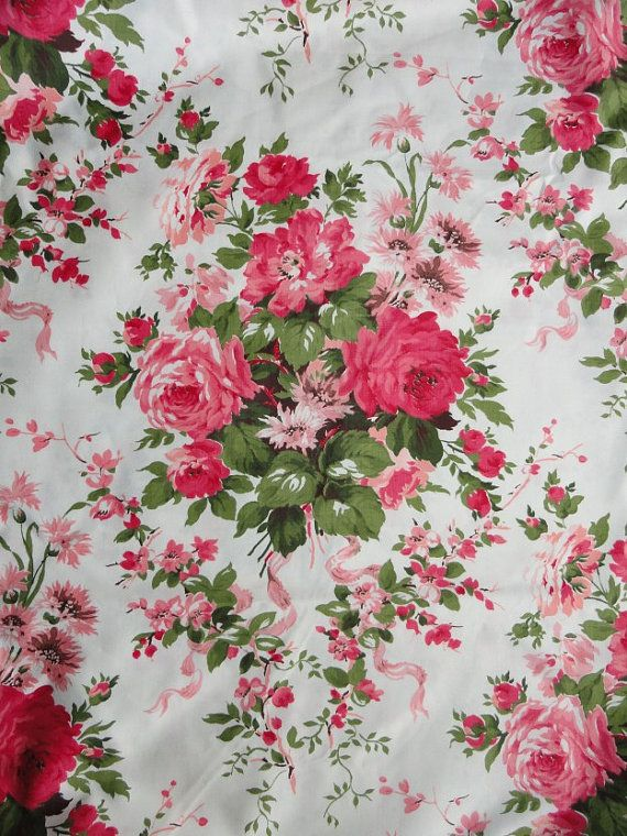 Vintage Waverly Rose Fl Fabric Prints