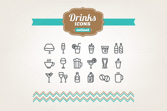 Hand drawn drinks icons by miumiu on Creative Market