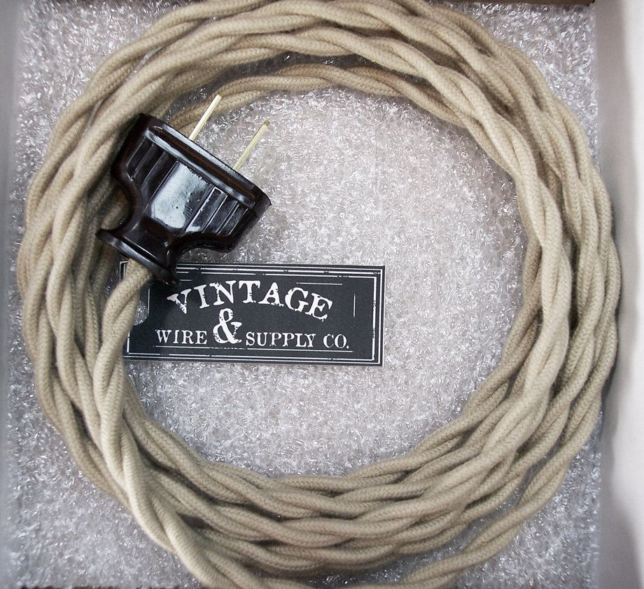 TAN COTTON - Cloth Covered Wire - Lamp Cord - 8-ft Cordset - Vintage ...