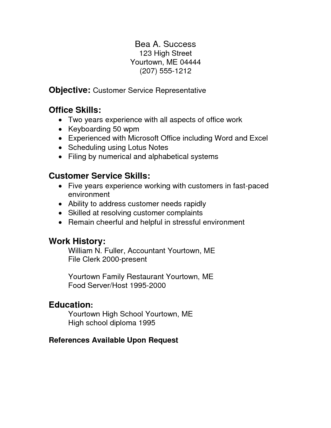 Writing Objective Resume Customer Service