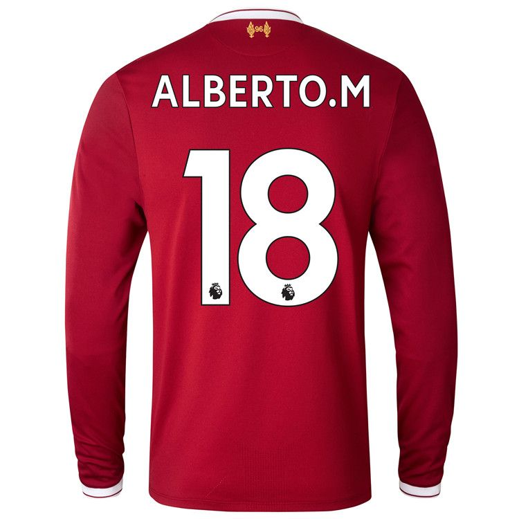 17/18 Liverpool Home Red LS Soccer Jersey Alberto.M #18