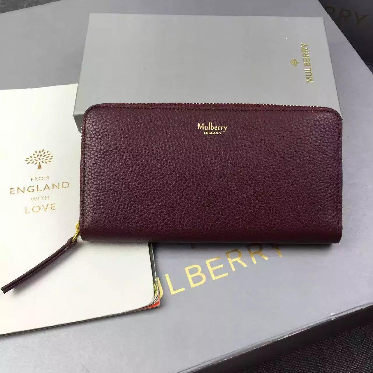 892609b2ed59 2016 Mulberry 8 CC Zip Around Wallet Burgundy Small Classic Grain ...