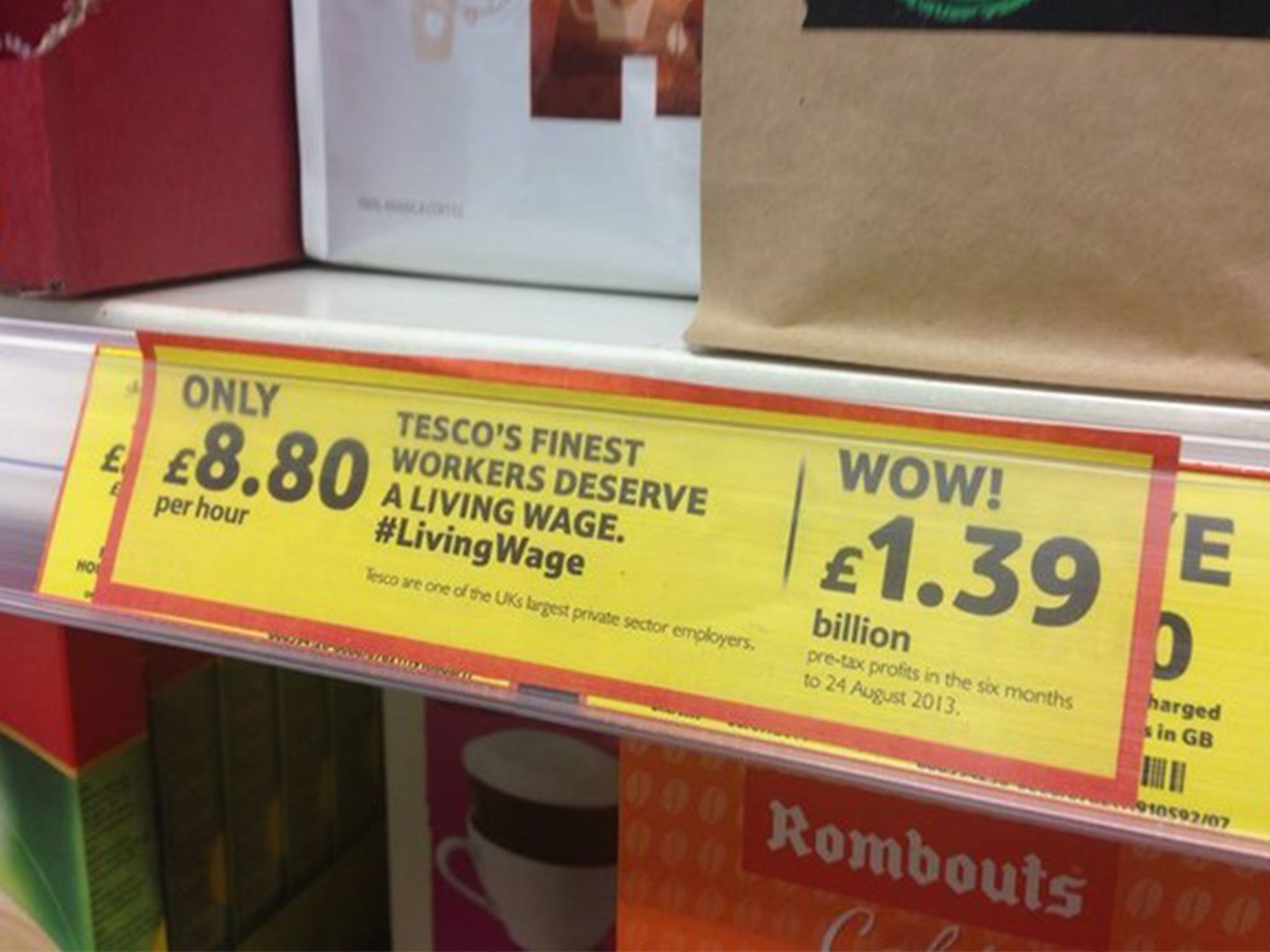 Tesco mocked by Living Wage campaign group in doctored supermarket ...