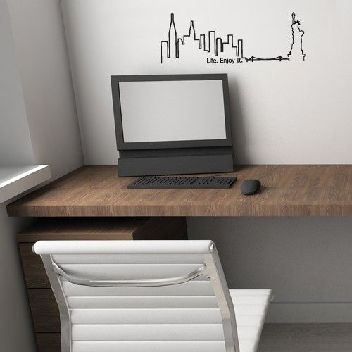 The NYC Skyline Wall Decal works great in any room, but in the home office, it symbolizes modern ideas and just plain looks good. It gives the room a stunning focal point and can be the basis for an urban decorating theme.