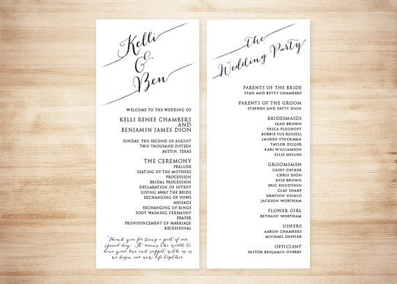This simple yet classy wedding program design features a
