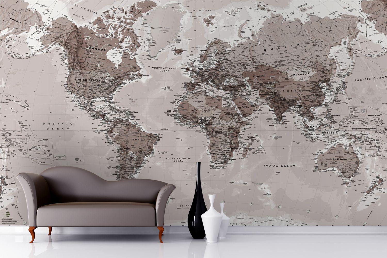 Neutral Shades World Map Wallpaper Mural Neutral
