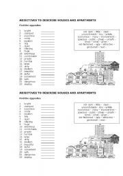 English worksheet: Adjectives to describe houses and