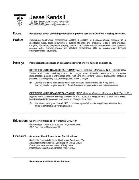certified nursing assistant resume examples