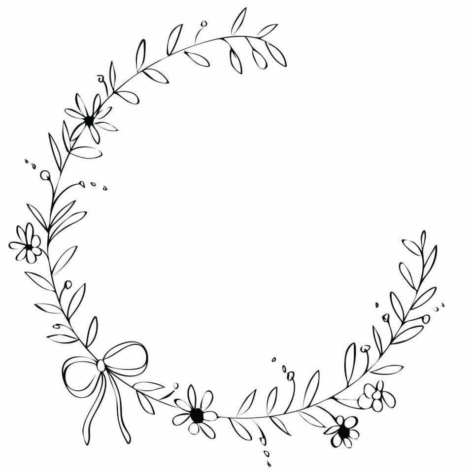 Photo of Pretty design of the floral wreath ribbon