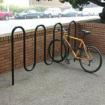 Wave Bike Storage Racks by Barco Products. $318.00. Simple & attractive style enhances any architectural setting Park one bike per loop & one on each end Durable 12-gauge, 1-5/8 OD steel construction Double-coated polyester coating Flange mount bolts directly into concrete (bolts not included)