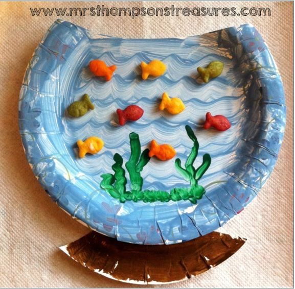 A paper plate fishbowl craft with goldfish crackers which is great to use during a beach ocean or summer unit. It is inspired by Dr. Seussu0027 book u0027One ... & For when we do fish next | Things I like | Pinterest | Fish