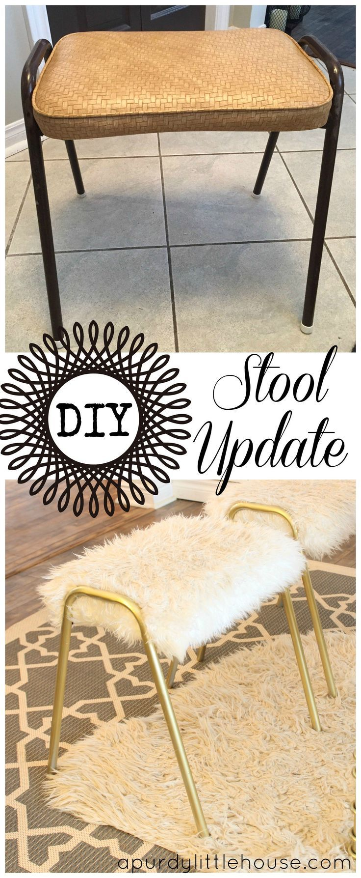 How To Reupholster An Old Stool Painting Furniture Diy Diy Stool Furniture Diy