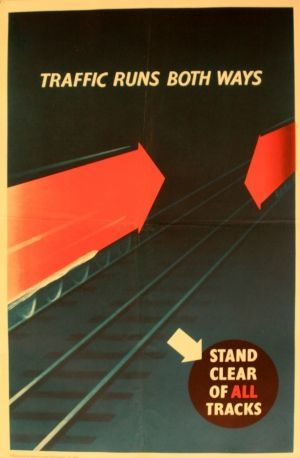 Traffic Runs Both Ways, 1950s - original vintage poster listed on AntikBar.co.uk: