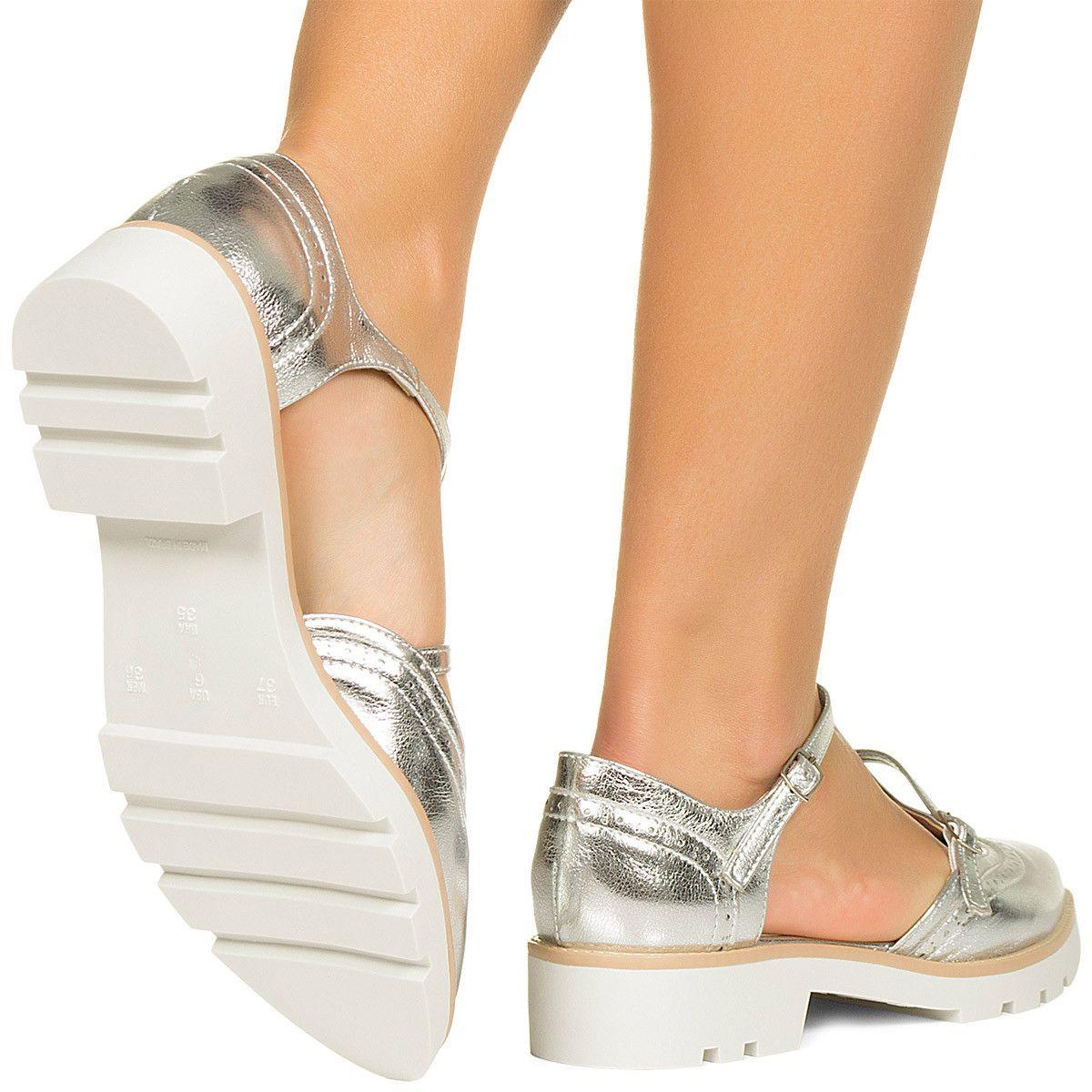 5757b0170f Sapato Oxford Aberto Prata Taquilla - Taquilla - Loja online de sapatos  femininos