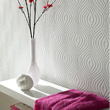 Graham & Brown Paintable Curvy Wallpaper In White | Decor & Such