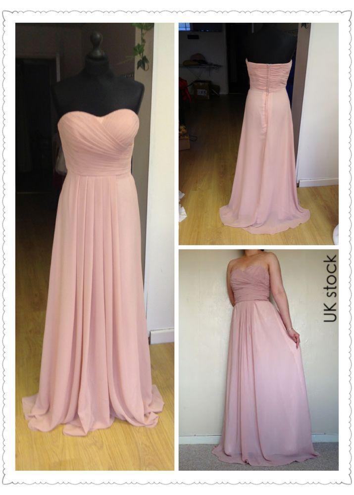 dusky pink strapless prom/evening/wedding bridesmaid dress size 8-22 ...