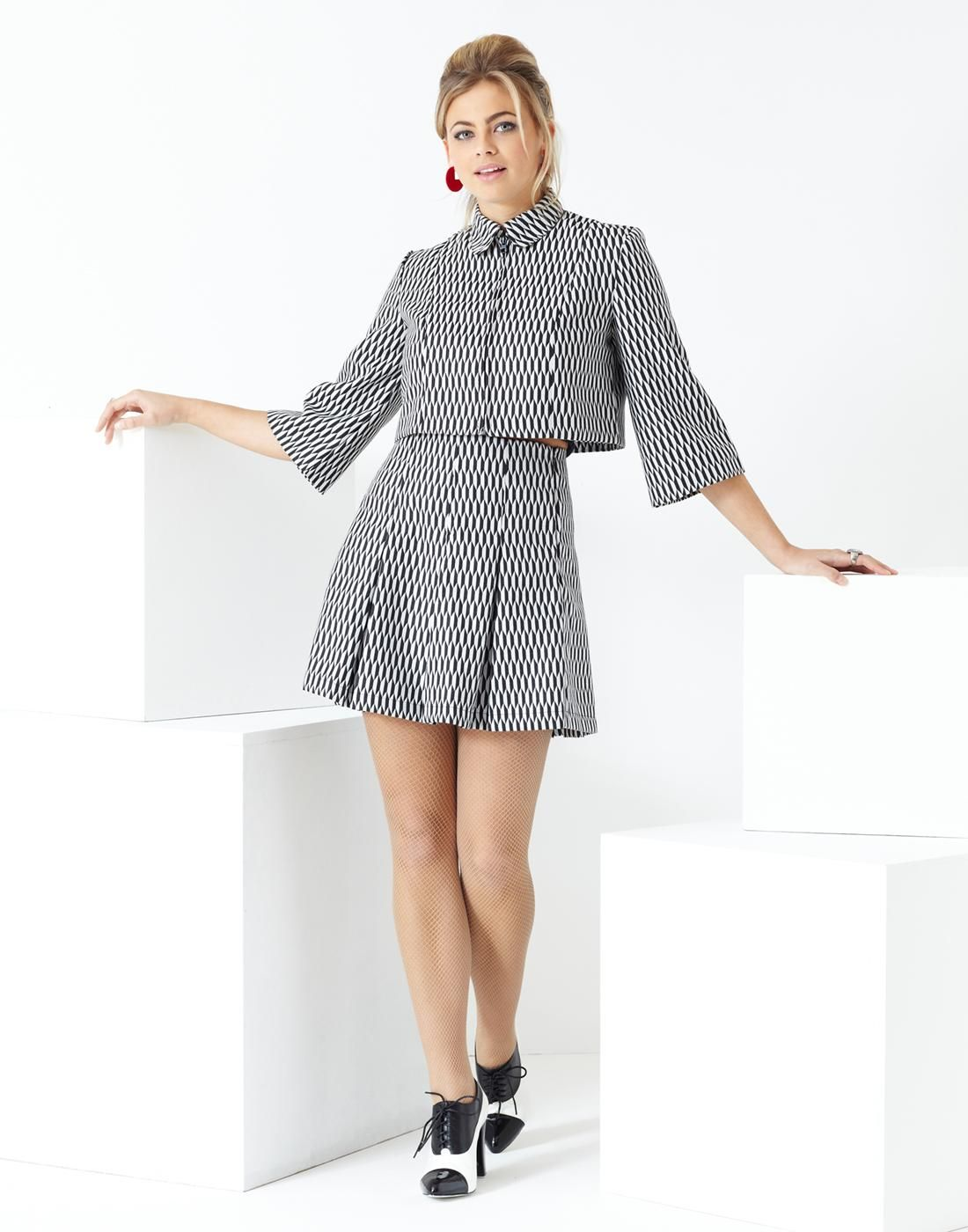 a762c407ca Bolero Jacket & Pleated Tennis Skirt In Two-Tone Harlequin Pattern. By  Madcap England, In Black & White.