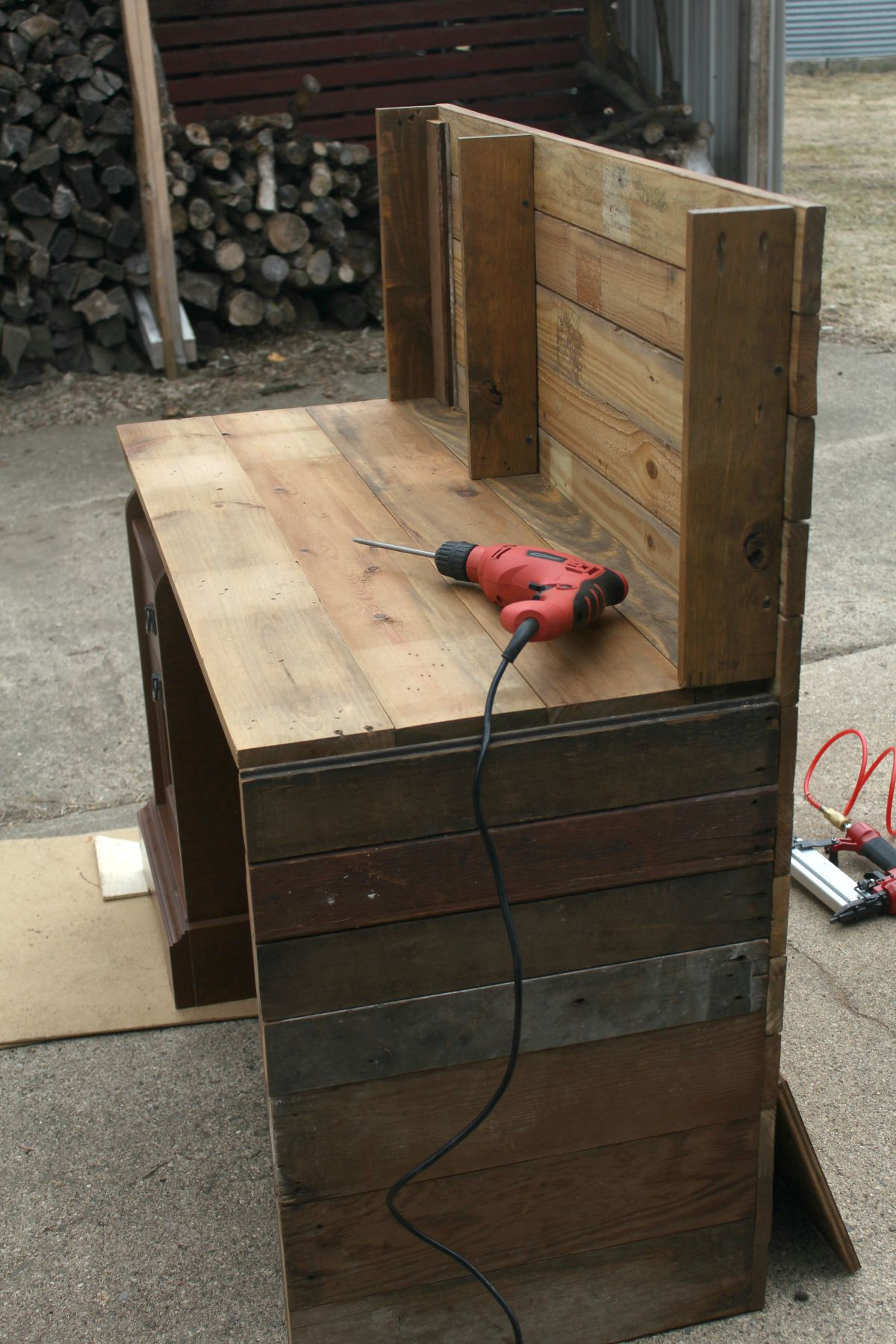 Cover Existing Piece Of Furniture With Reclaimed Barn Wood For