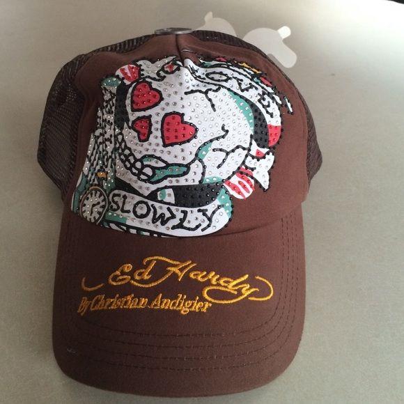 42409775859 Ed Hardy old school Skull Bling trucker Hat Cap Ed Hardy brown cap.  Rhinestones. Skull