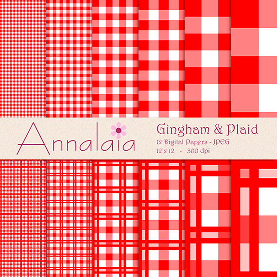 Digital Gingham Paper Red And White Gingham Plaid Checks Squares
