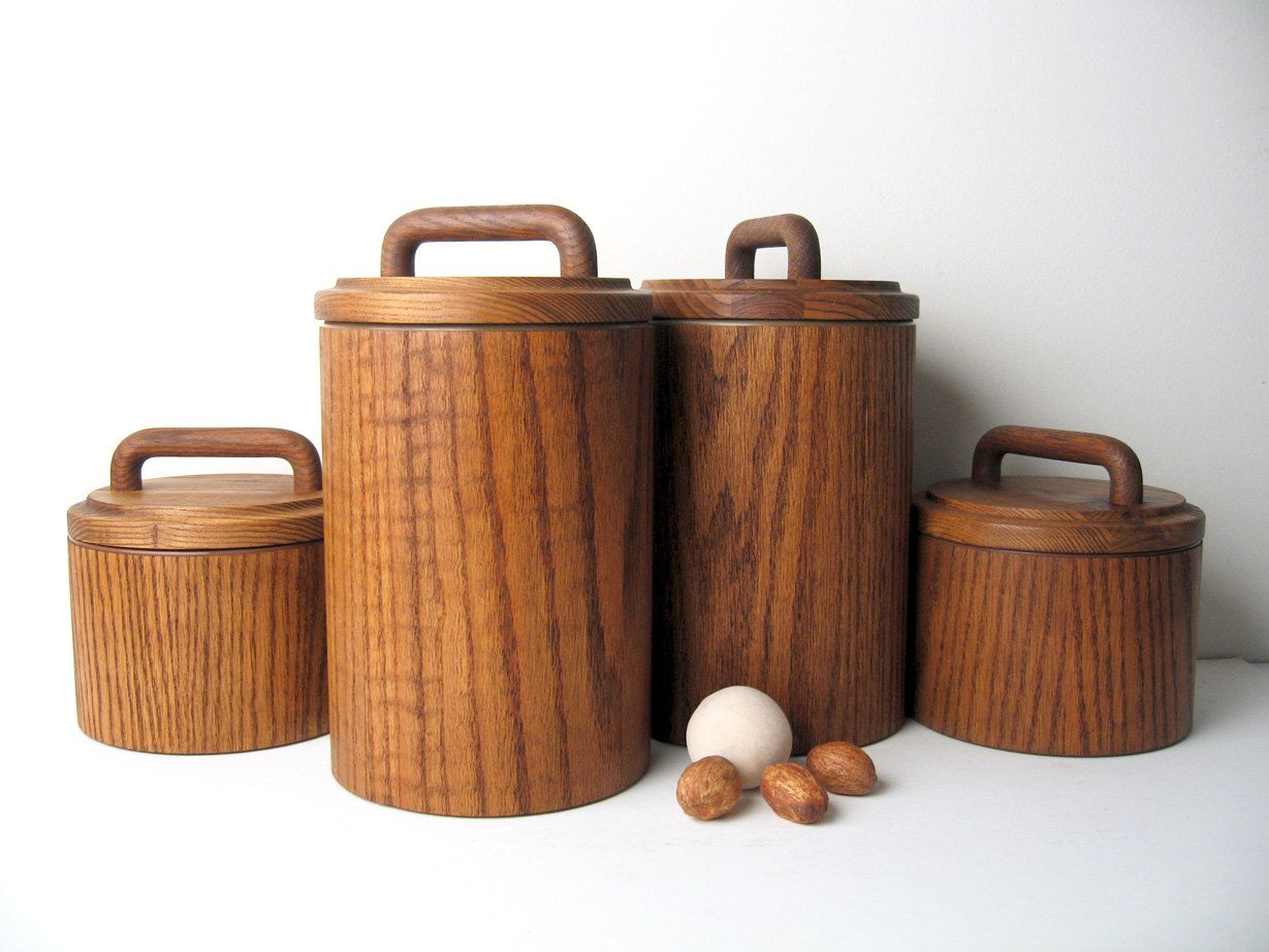 Mid century modern wooden canister container set sold via etsy kitchen