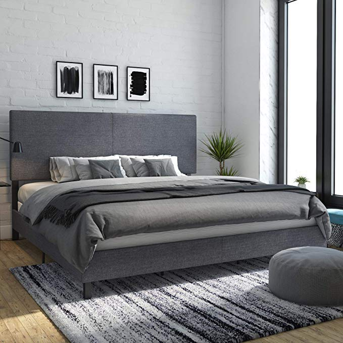 Amazon Com Dhp 4156449 Janford Upholstered Bed King Gray