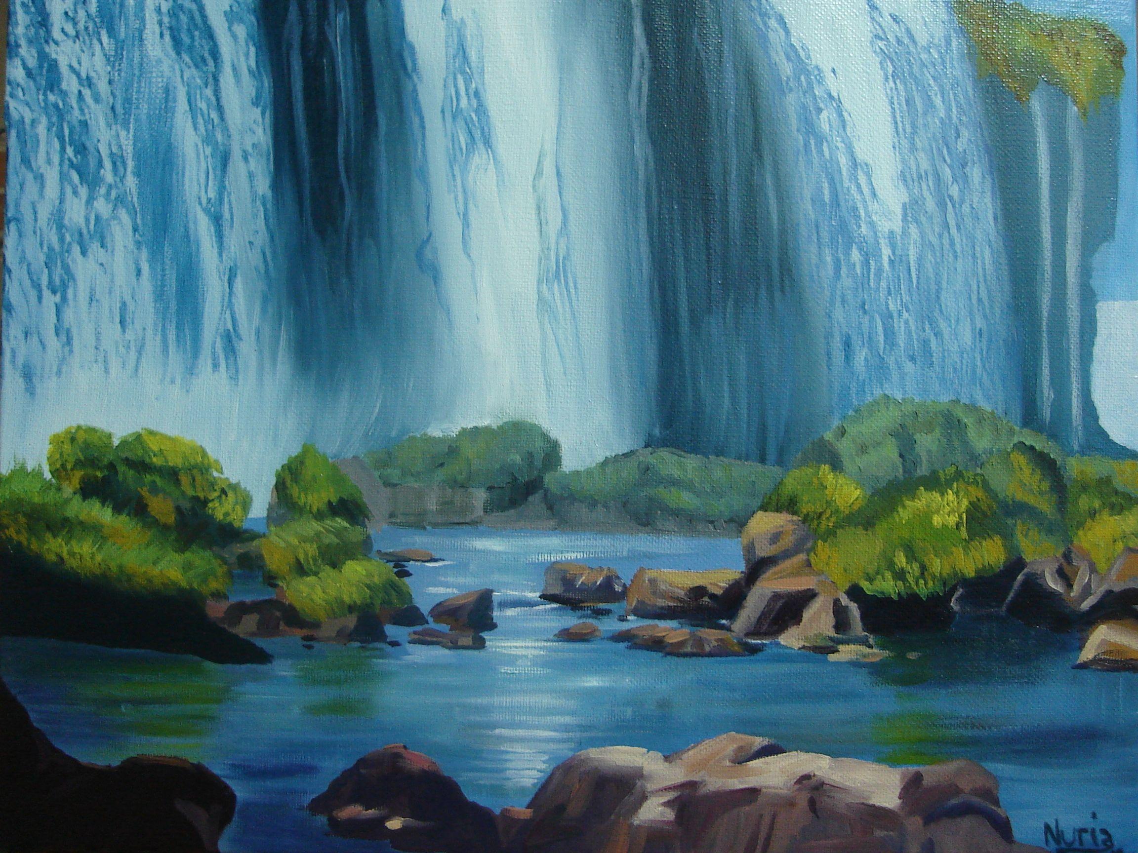 Cataratas de Iguazú en óleo