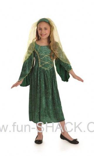 Green Tudor Dress Girl Fancy Dress Costume Fun Shack