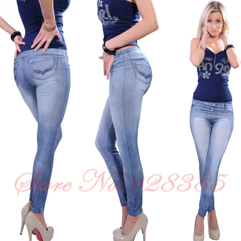 0ba672b55b25 One size Stretchy Jean look Fashion legging for women sexy Leggins Slimming  Jeggings Wholesale free shipping  Top1 US  5.80