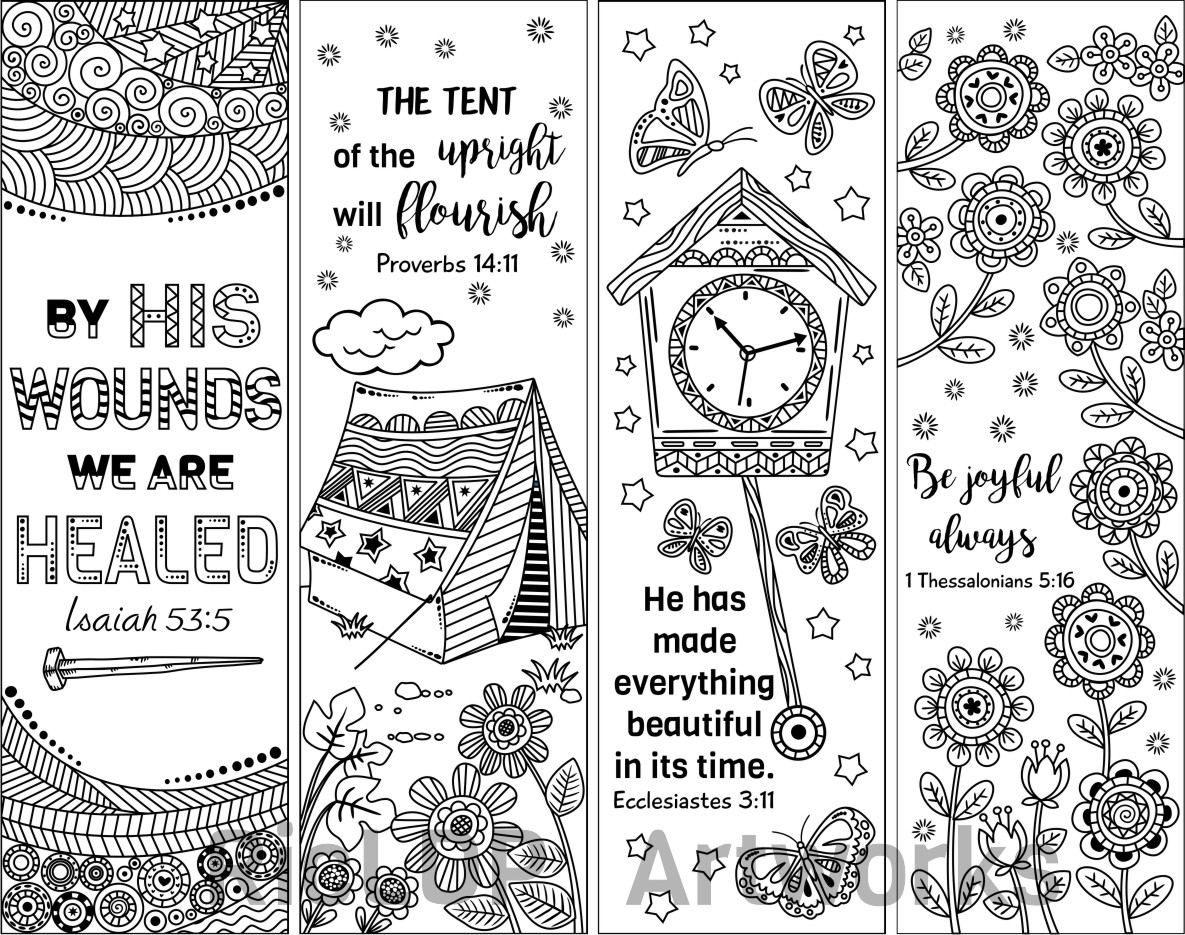 Set Of 8 Bible Verse Coloring Bookmarks Bookmark Doodles With Scriptures Digital Download