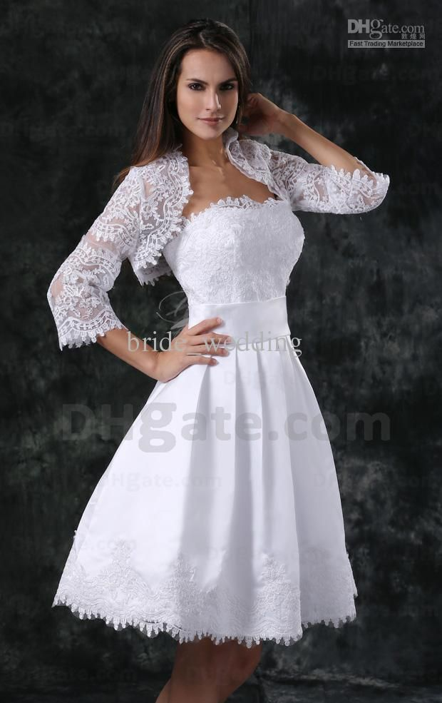 White Short Wedding Dress With Elbow Sheer Sleeves Jacket Lace Bodice Strapless Band Short White Dress Wedding Short Wedding Dress Short Wedding Guest Dresses