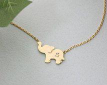 Personalized initial elephant necklace, initial jewelry, Elephant Jewelry