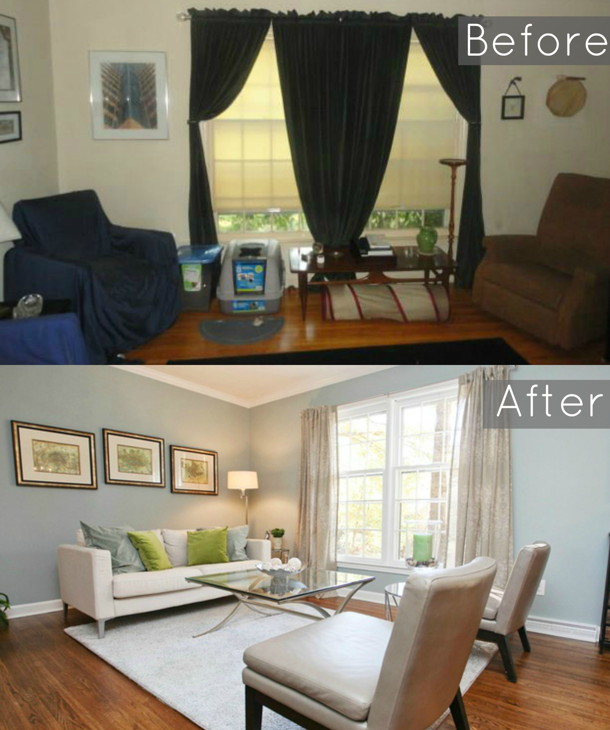Before and After of our ugly 1960s split level remodel