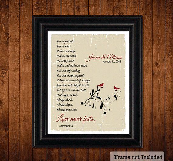 LOVE Never Fails, 1 Corinthians 13, PERSONALIZED Wedding