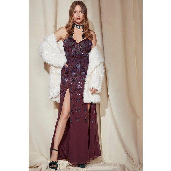 Nasty Gal Nasty Gal Studio Ella Embellished Maxi Dress (14.595 RUB) ❤ liked on Polyvore featuring dresses, plum, embellished maxi dress, fitted maxi dress, floral maxi dress, chiffon maxi dresses and v-neck dresses