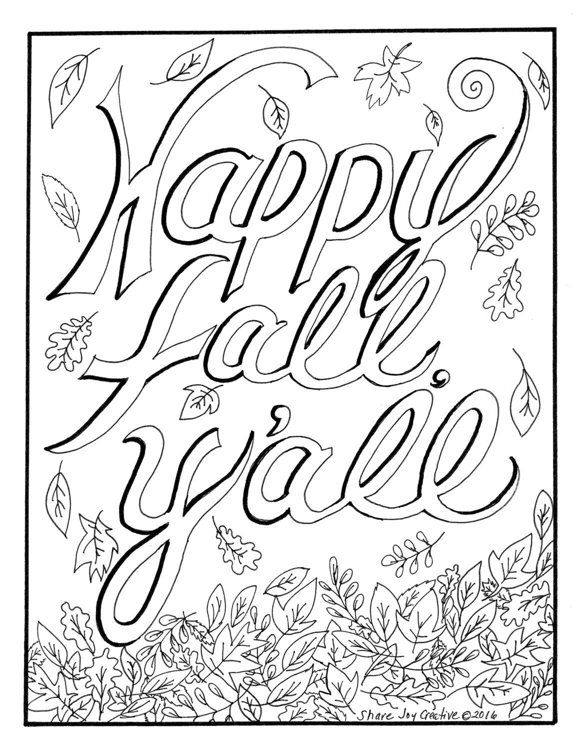 Happy Fall Y All Coloring Page