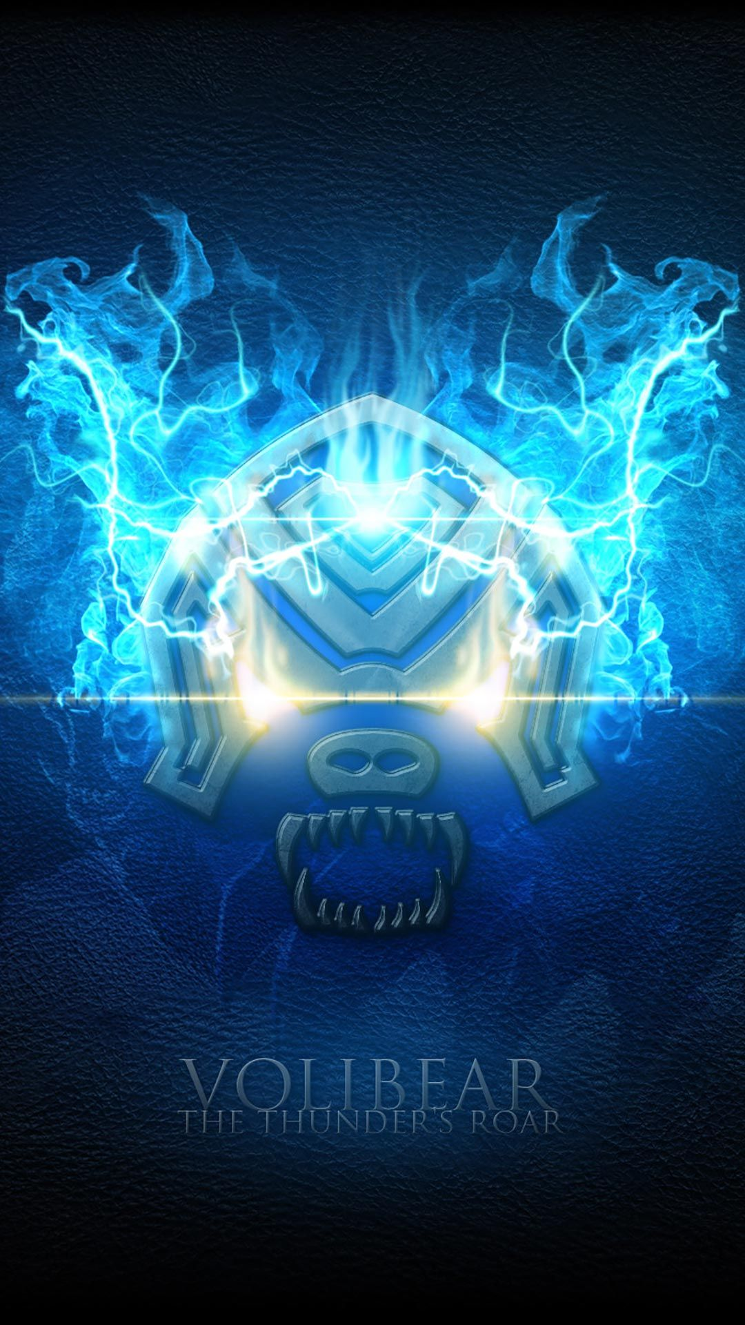 volibear the thunders roar blue fire android iphone wallpaper mobile background