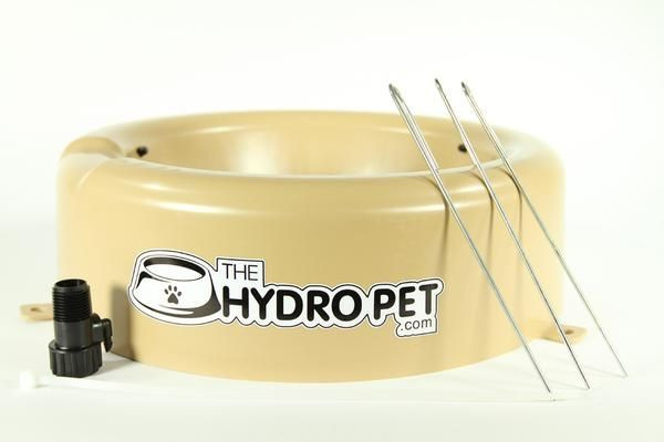Large outdoor 1 glln bowl is self filling thru sprinkler system. Easy clean. Automatically fills on timer. For all pets. Also pet pigs, rabbits, pet chickens.