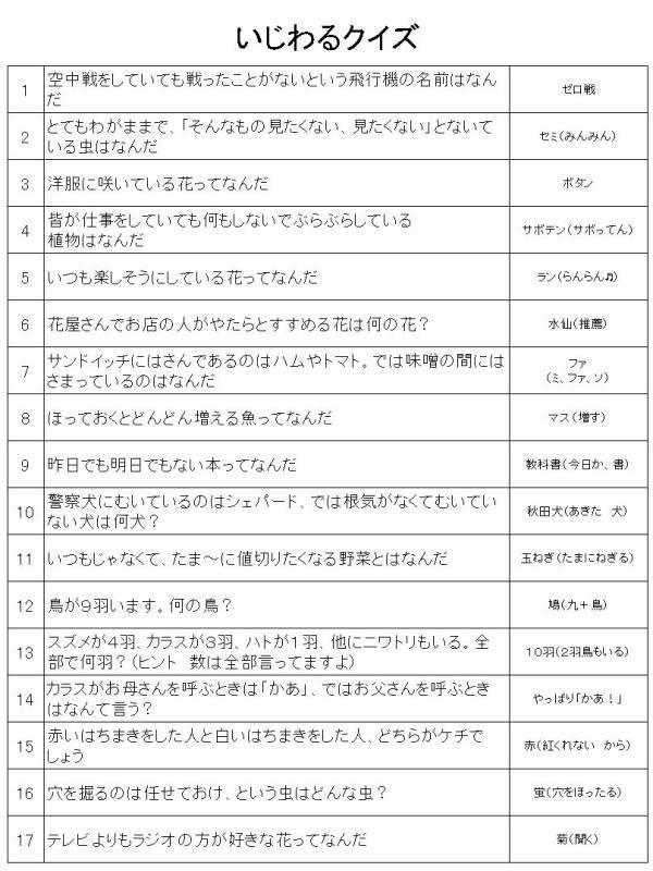 いじわるクイズ 画像あり クイズ なぞなぞ 漢字 勉強