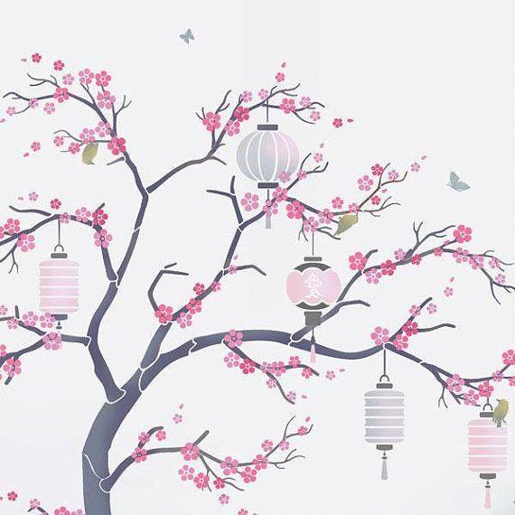 Japanese Cherry Blossom Sakura And Lanterns Nursery Tree Japanesegardentheme Cherry Blossom Painting Cherry Blossom Art Japanese Cherry Tree
