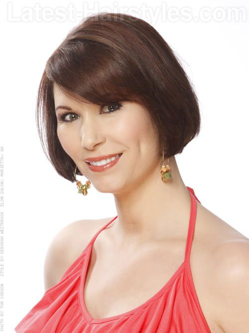 Shiny Brunette Bob With Bangs Fab Hair Over 40