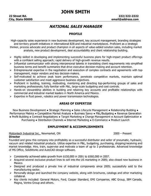 Click Here to Download this National Sales Manager Resume Template - senior director job description