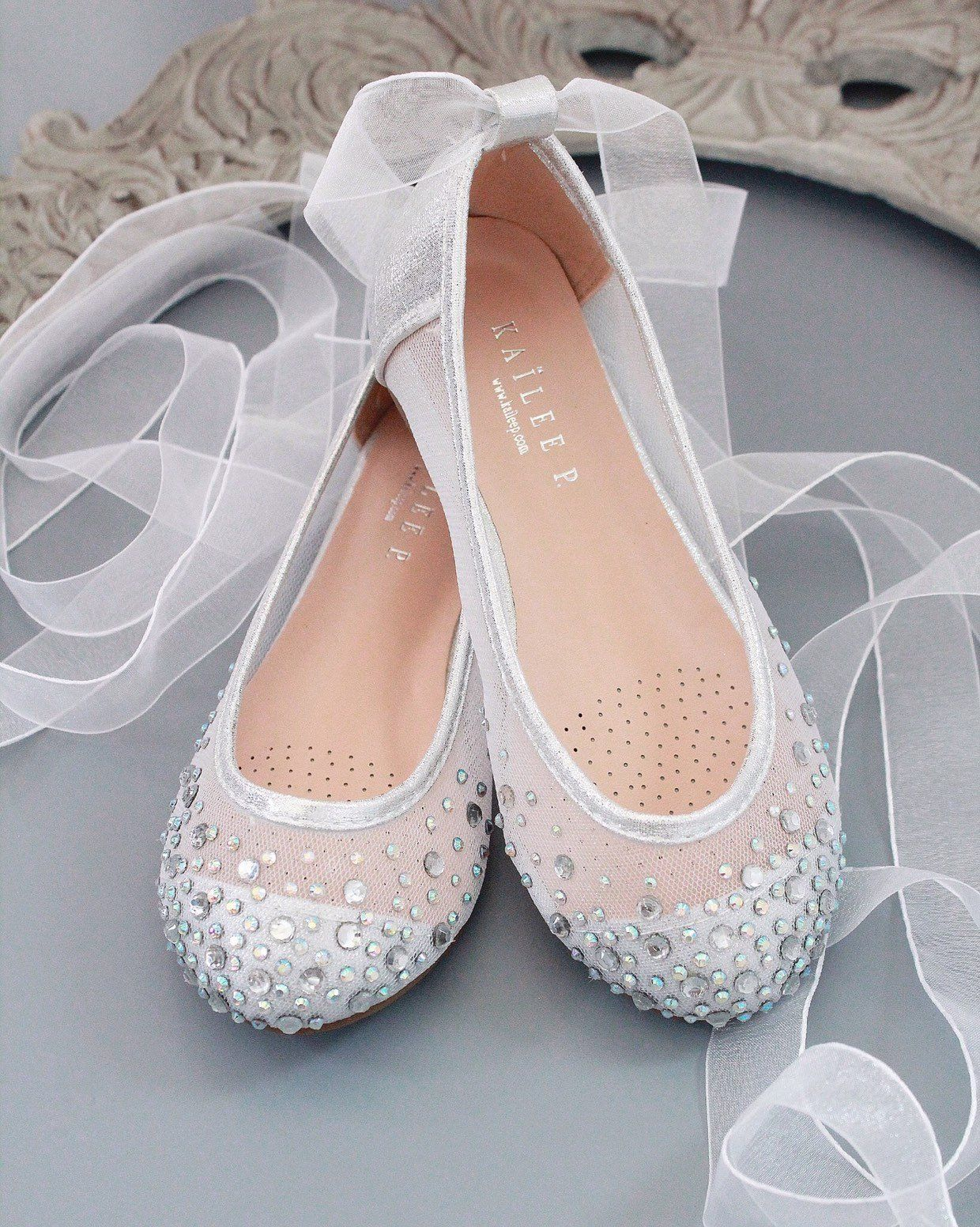 Silver Mesh With Scattered Rhinestones Ballerina Lace Up Etsy Girls Shoes Silver Shoes Flower Girl Shoes