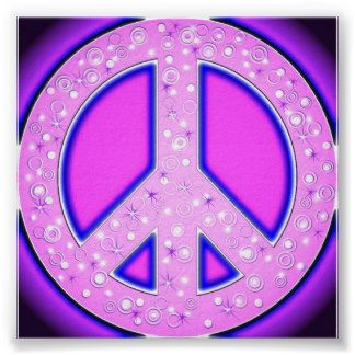 Pink Girly Peace Sign With Purple Neon Glow Posters ...
