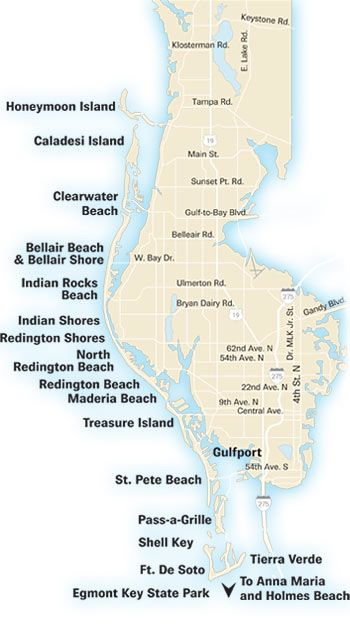 St PetersburgTampa Bay FL Area Beaches Accolades St - Map of gulf coast florida