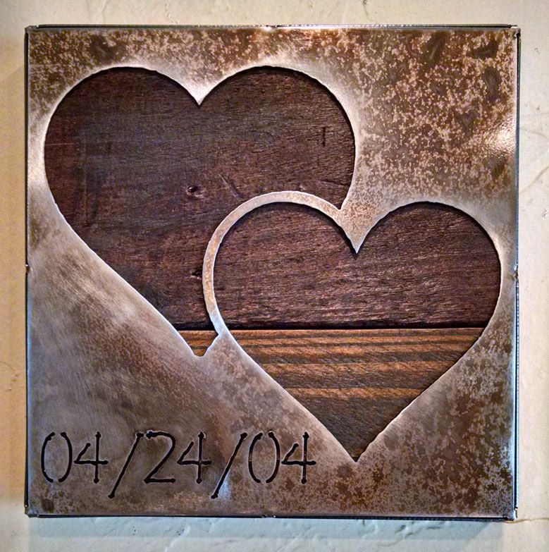 Double Heart with Custom Date – Anniversary Gift – Metal Art – Reclaimed Wood and Aged Steel – 9×9 – by Legendary Fine Art
