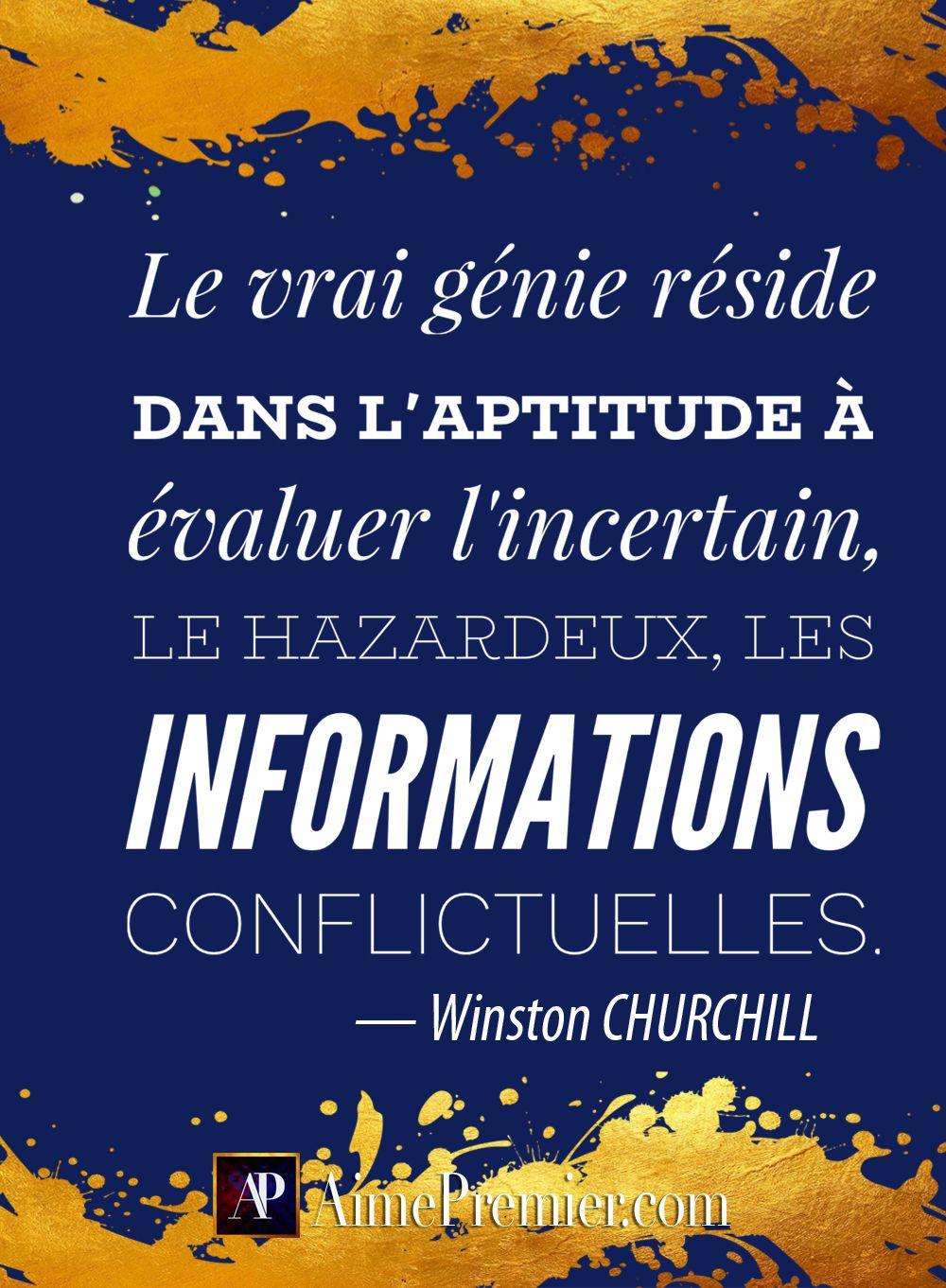 Le Vrai Genie Reside Dans L Aptitude A Evaluer L Incertain Le Hazardeux Les Informations Conflictuelles Winston Churchill Aimepremier Consultanteninnovat